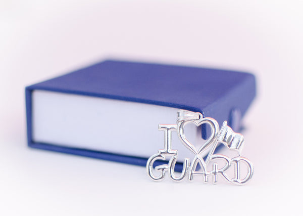 I Love GUARD Charm for Color Guard | Silver - ColorGuard Gifts - 3