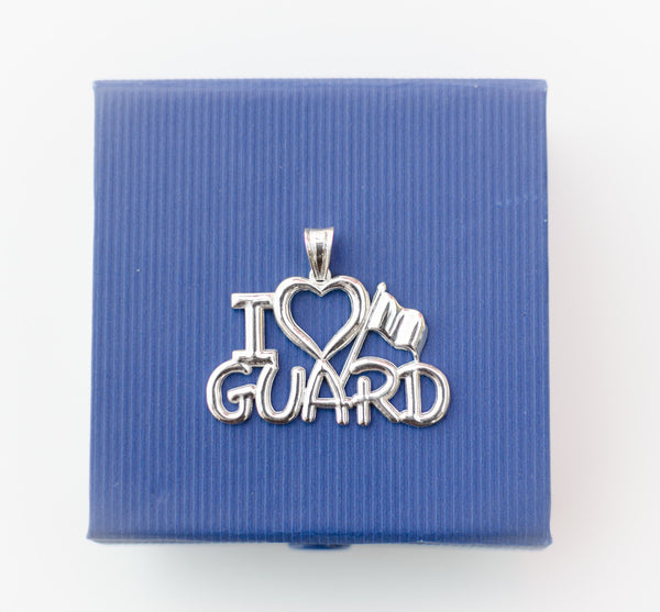 I Love GUARD Charm for Color Guard | Silver - ColorGuard Gifts - 2