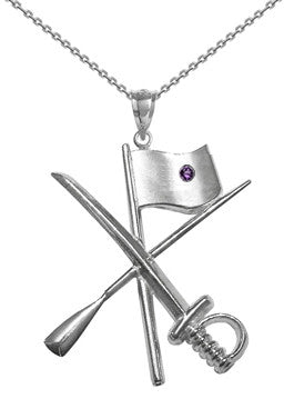 Color Guard Flag Rifle Saber Necklace | Sterling Silver - ColorGuard Gifts - 2