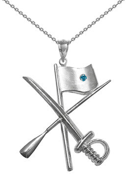 Color Guard Flag Rifle Saber Necklace | Sterling Silver - ColorGuard Gifts - 3
