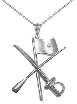 Color Guard Flag Rifle Saber Necklace | Sterling Silver - ColorGuard Gifts - 4