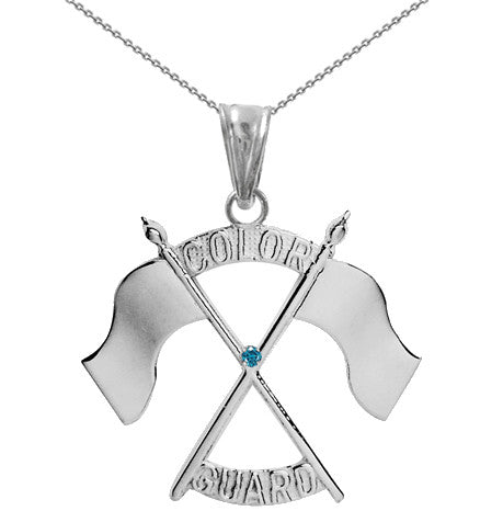 Color Guard Double Flag Necklace | Silver - ColorGuard Gifts - 4