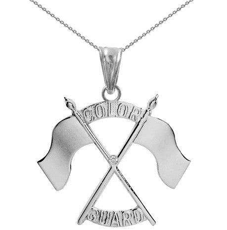 Color Guard Double Flag Necklace | Silver - ColorGuard Gifts - 6