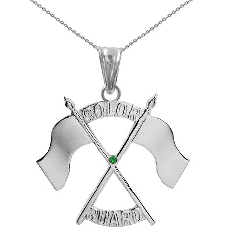 Color Guard Double Flag Necklace | Silver - ColorGuard Gifts - 7