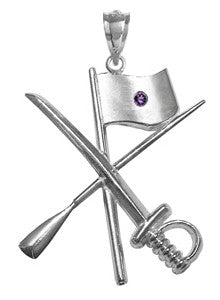 Color Guard Flag Rifle Saber Charm with Amethyst for Winter Guard