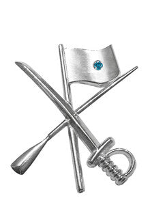 Color Guard Flag Rifle Saber Lapel Pin | Sterling Silver - ColorGuard Gifts - 3