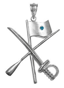 Color Guard Flag Rifle Saber Charm | Sterling Silver Jewelry - ColorGuard Gifts - 4