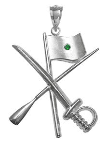 Color Guard Flag Rifle Saber Charm with Emerald for Winter Guard