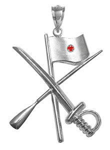 Color Guard Flag Rifle Saber Charm with Ruby for Winter Guard