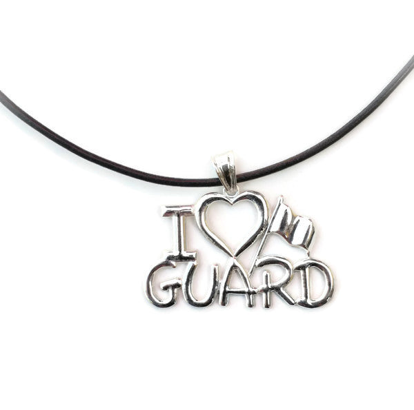 I Love GUARD Necklace for ColorGuard | Silver - ColorGuard Gifts - 1