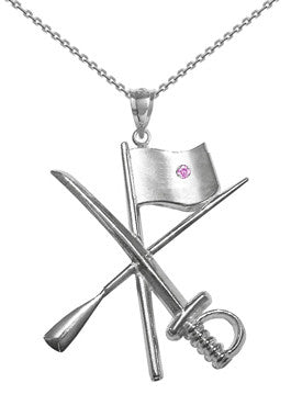 Color Guard Flag Rifle Saber Necklace | Sterling Silver - ColorGuard Gifts - 7