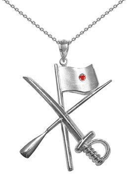 Color Guard Flag Rifle Saber Necklace | Sterling Silver - ColorGuard Gifts - 6
