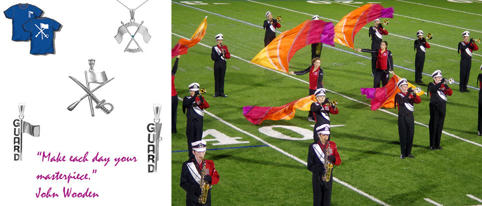 Color Guard Spin and Flag Silver Charm Free Shipping