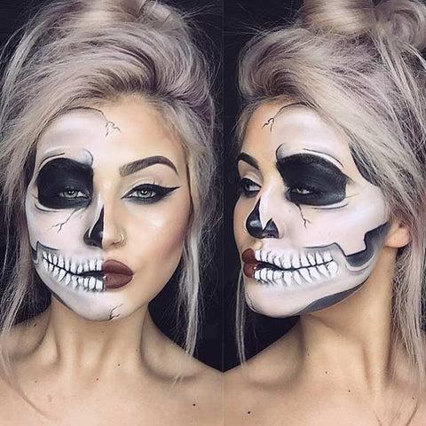 @jamiegenevieve slaying the classic half skeleton Halloween look. This isn't just makeup, this is art!