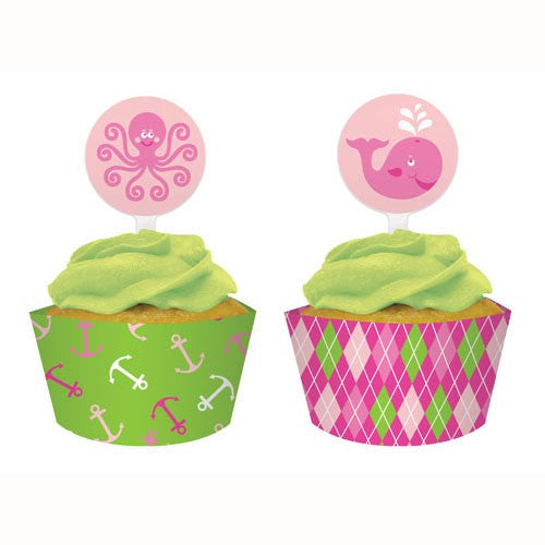 Ocean Preppy Girl Cupcake Wraps with Toppers