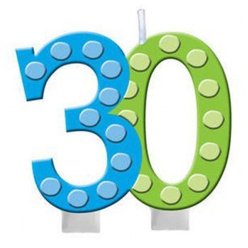 30th Bright and Bold Moulded Number Candle