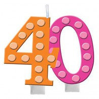 40th Bright and Bold Moulded Number Candle