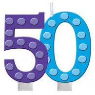 50th Bright and Bold Moulded Number Candle