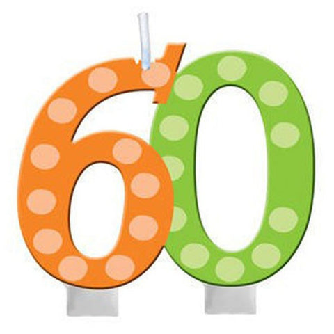 60th Bright and Bold Moulded Number Candle