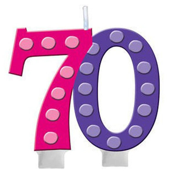 70th Bright and Bold Moulded Number Candle