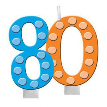 80th Bright and Bold Moulded Number Candle