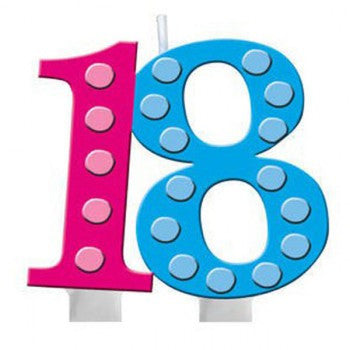 18th Bright and Bold Moulded Number Candle