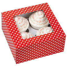 Cupcake Gift Box - Red & White Polkadots