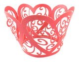 Cupcake Wrapper Red Hearts