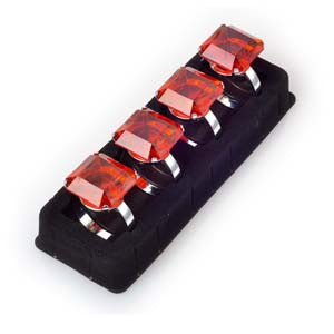 Napkin Ring Set - Red Diamond