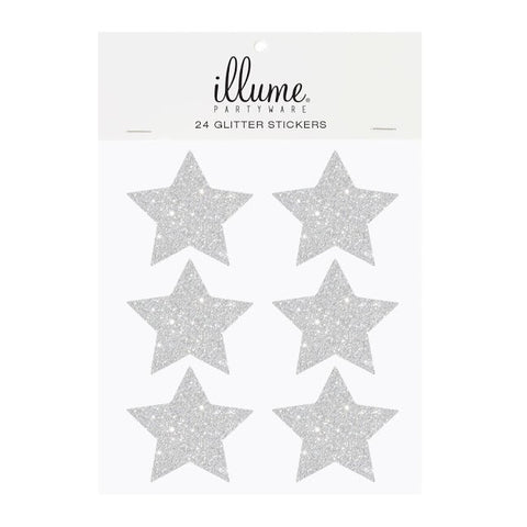 Glitter Star Sticker Seals Silver