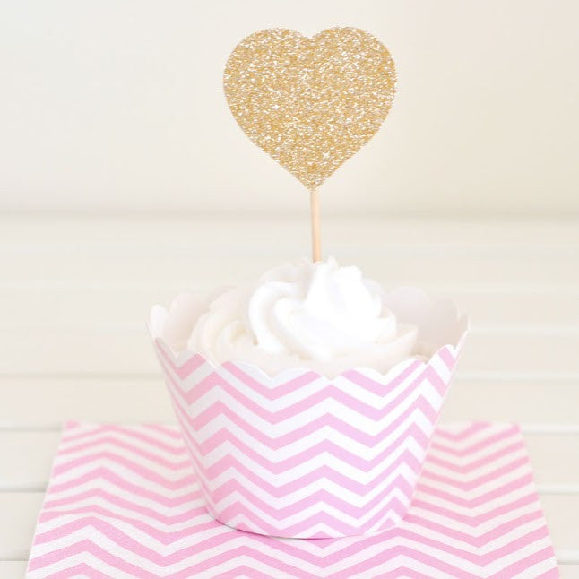Chevron Pink Cupcake Wrapper