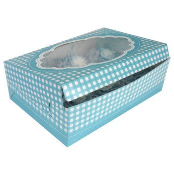 Blue Gingham Stitch Cupcake Boxes (2 per pack)