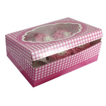 Pink Gingham Stitch Cupcake Boxes (2 per pack)
