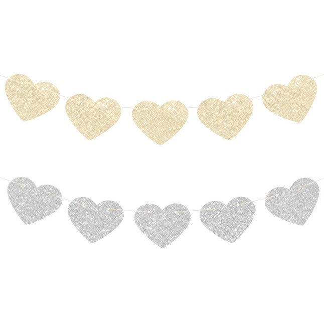 Glitter Star Reversible Garland - Gold & Silver