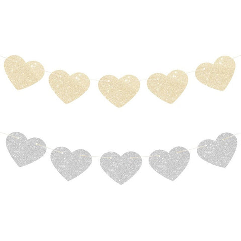 Glitter Heart Reversible Garland - Gold & Silver