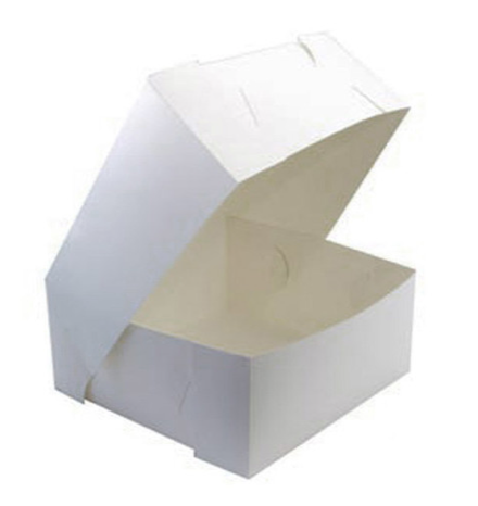"Cake Box Flip Up 10x10x4"" white milk board"
