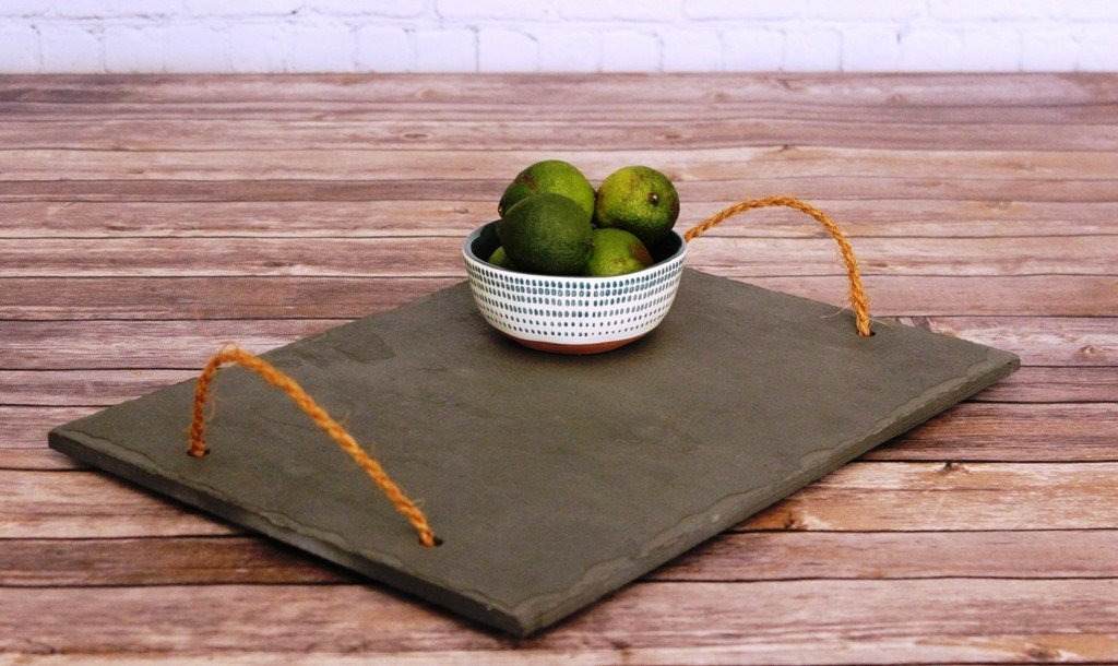 Long Black Tray with Coconut Handles