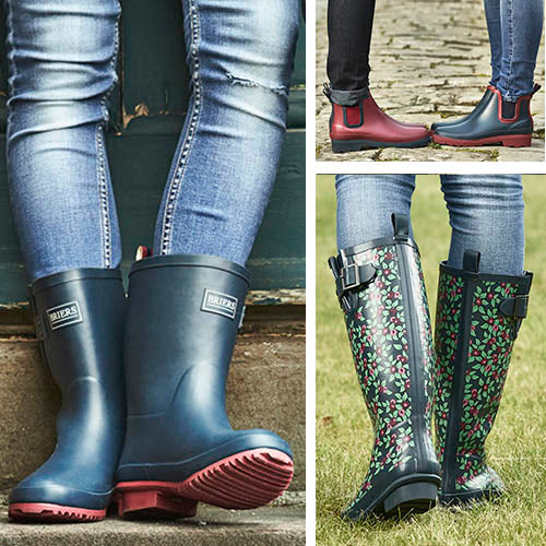 Briers new range of rubber footwear: wellington boots, calf high boots and Chelsea boots
