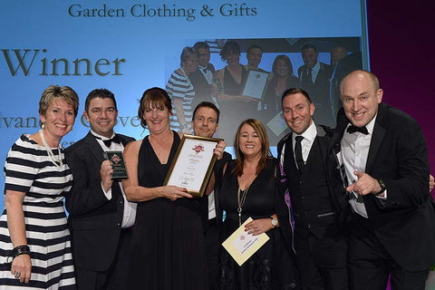 Briers winning the Garden Clothing & Gifts Award at the 2016 GIMA Awards