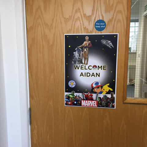 A little welcome sign for Aidan Parmar at Briers' Wincanton head office