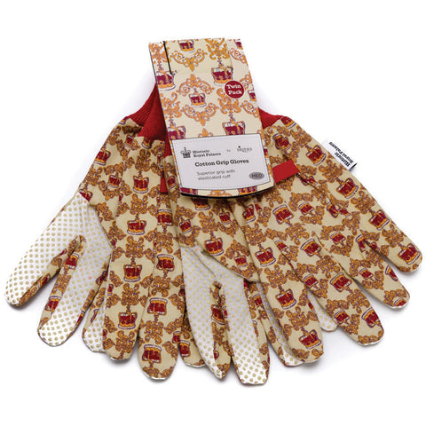 Historic Royal Palaces Royal Crown Cotton Grip Gloves Twin Pack - Briers