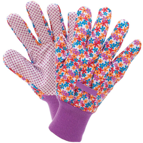 Busy Floral Cotton Grip Gloves - Briers