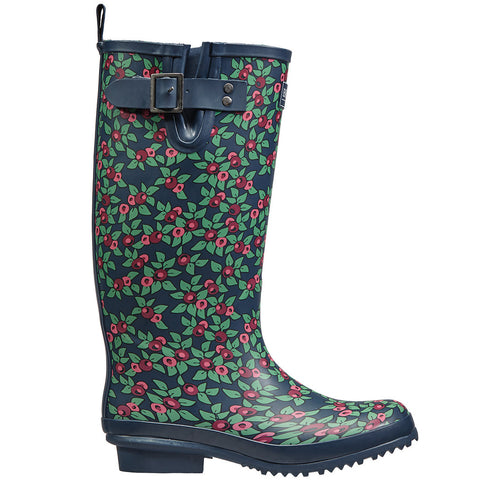 Plum Floral Rubber Wellington Boots - Briers