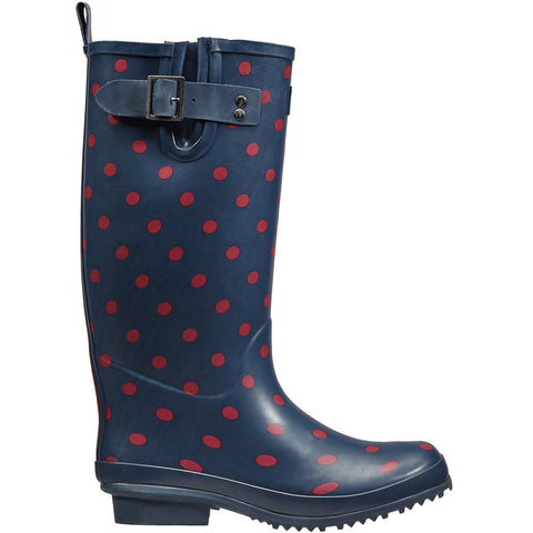 Navy Spot Rubber Wellington Boots - Briers
