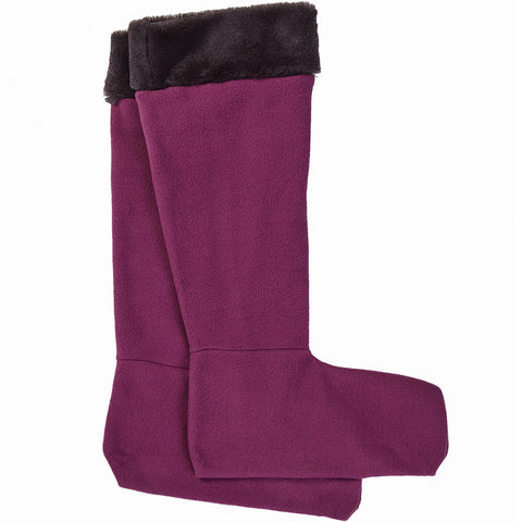 Faux Fur Wellington Boot Socks Purple - Briers