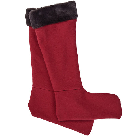 Faux Fur Wellington Boot Socks Claret - Briers