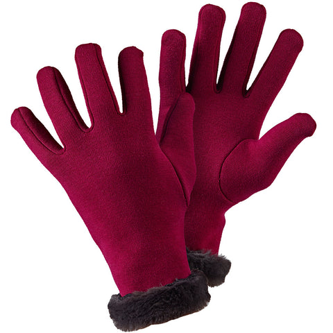 Faux Fur Gloves Claret - Briers