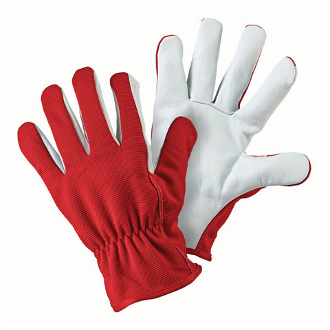 Leather Palm Lined Red Gloves