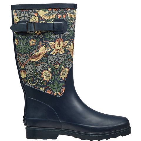 William Morris Strawberry Thief Fabric Feel Rubber Wellington Boots - Briers  - 1