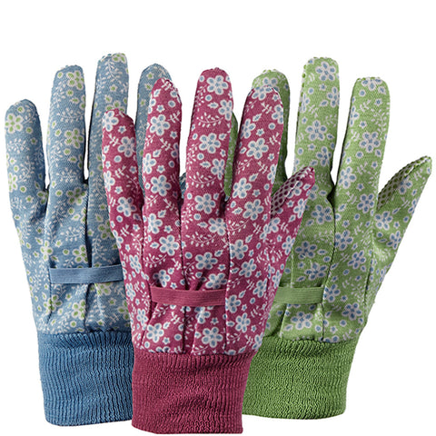 Falling Flowers Cotton Triple Pack Gloves - Briers